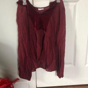 Gap red velvet shirt
